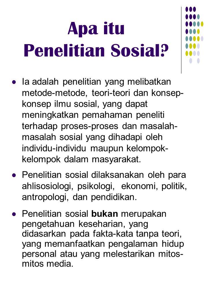 Apa itu Penelitian Sosial? Ia adalah penelitian yang melibatkan metode-metode, teori-teori dan konsep- konsep ilmu sosial, yang dapat meningkatkan pem