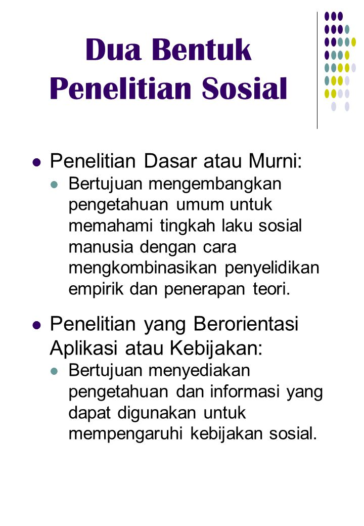 Dua Bentuk Penelitian Sosial Penelitian Dasar/Murni dilaksanakan oleh para akademisi.