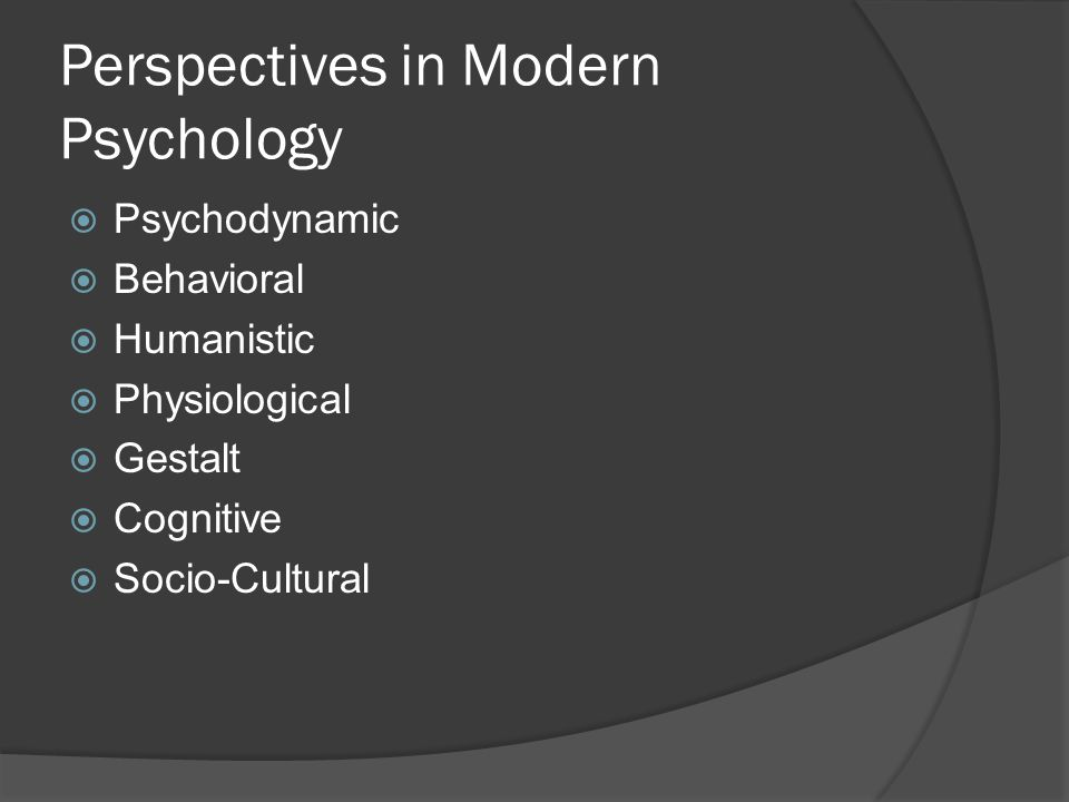 Perspectives in Modern Psychology  Psychodynamic  Behavioral  Humanistic  Physiological  Gestalt  Cognitive  Socio-Cultural