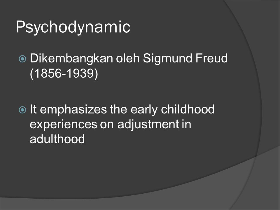 Psychodynamic  Dikembangkan oleh Sigmund Freud (1856-1939)  It emphasizes the early childhood experiences on adjustment in adulthood