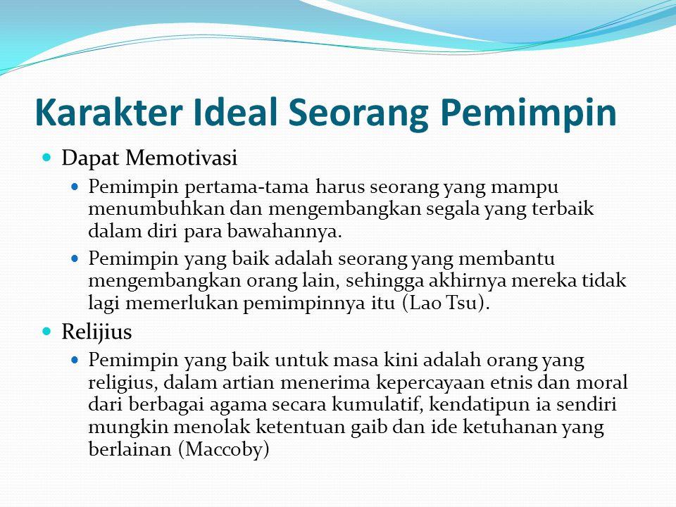 Karakter Ideal Seorang Pemimpin Dapat Memotivasi Pemimpin pertama-tama harus seorang yang mampu menumbuhkan dan mengembangkan segala yang terbaik dala