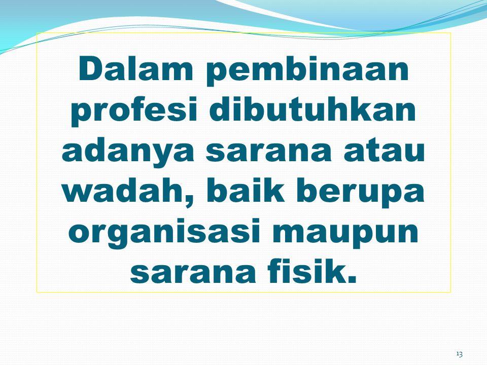 Dalam pembinaan profesi dibutuhkan adanya sarana atau wadah, baik berupa organisasi maupun sarana fisik. 13