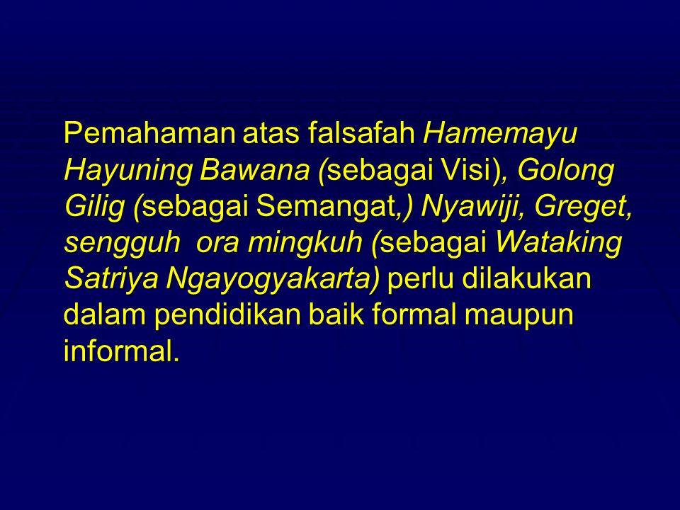 Pemahaman atas falsafah Hamemayu Hayuning Bawana (sebagai Visi), Golong Gilig (sebagai Semangat,) Nyawiji, Greget, sengguh ora mingkuh (sebagai Wataki