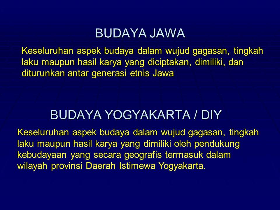 BUDAYA JAWA BUDAYA YOGYAKARTA / DIY Keseluruhan aspek budaya dalam wujud gagasan, tingkah laku maupun hasil karya yang diciptakan, dimiliki, dan ditur