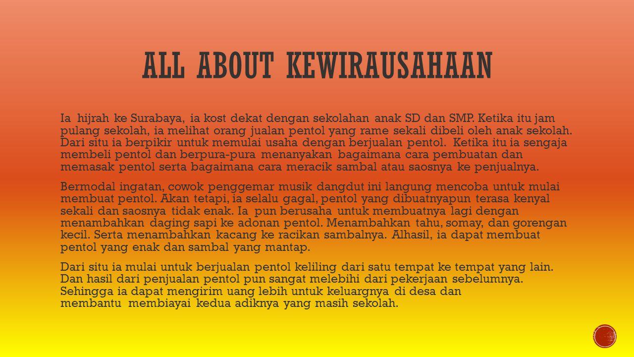 ALL ABOUT KEWIRAUSAHAAN Ia hijrah ke Surabaya, ia kost dekat dengan sekolahan anak SD dan SMP. Ketika itu jam pulang sekolah, ia melihat orang jualan