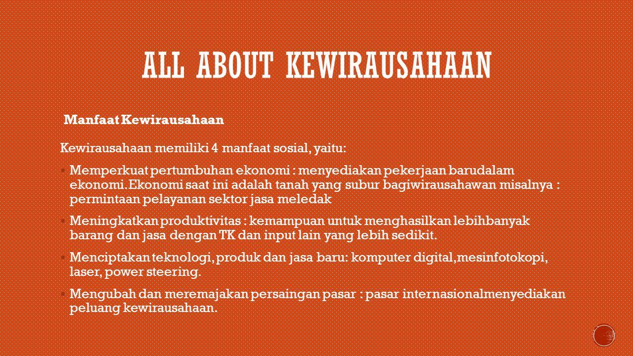  KESIMPULAN Kewirausahaan berasal dari kata wira dan usaha.