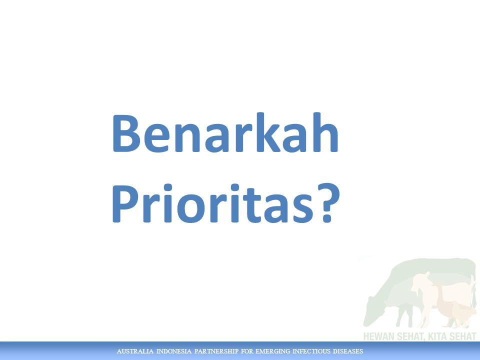 AUSTRALIA INDONESIA PARTNERSHIP FOR EMERGING INFECTIOUS DISEASES Benarkah Prioritas