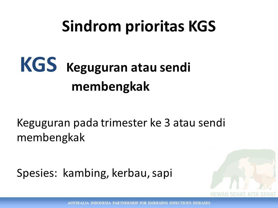 AUSTRALIA INDONESIA PARTNERSHIP FOR EMERGING INFECTIOUS DISEASES Sindrom prioritas KGS KGS Keguguran atau sendi membengkak Keguguran pada trimester ke 3 atau sendi membengkak Spesies: kambing, kerbau, sapi