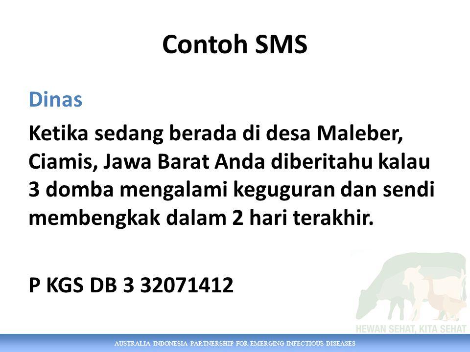 AUSTRALIA INDONESIA PARTNERSHIP FOR EMERGING INFECTIOUS DISEASES Contoh SMS Dinas Ketika sedang berada di desa Maleber, Ciamis, Jawa Barat Anda diberitahu kalau 3 domba mengalami keguguran dan sendi membengkak dalam 2 hari terakhir.