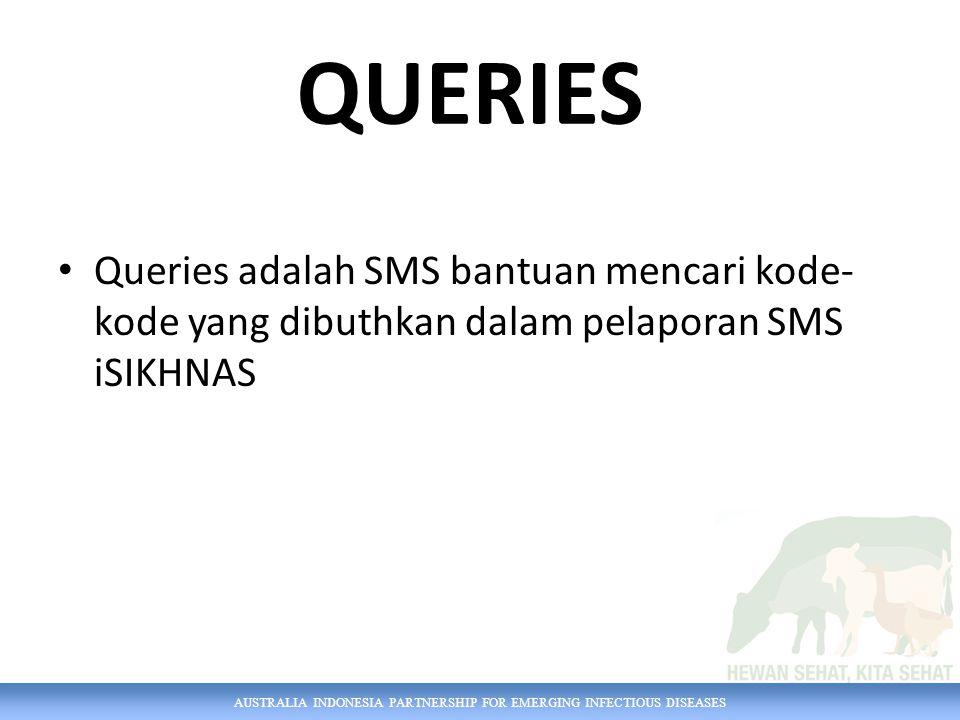 AUSTRALIA INDONESIA PARTNERSHIP FOR EMERGING INFECTIOUS DISEASES Queries adalah SMS bantuan mencari kode- kode yang dibuthkan dalam pelaporan SMS iSIKHNAS QUERIES
