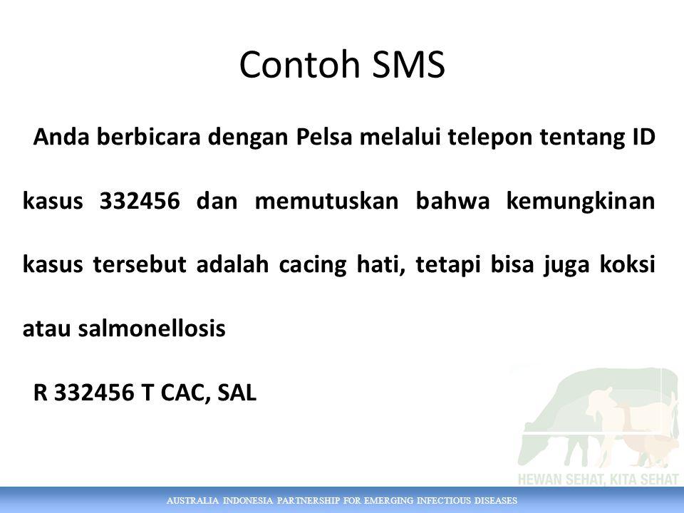 AUSTRALIA INDONESIA PARTNERSHIP FOR EMERGING INFECTIOUS DISEASES Anda berbicara dengan Pelsa melalui telepon tentang ID kasus 332456 dan memutuskan bahwa kemungkinan kasus tersebut adalah cacing hati, tetapi bisa juga koksi atau salmonellosis R 332456 T CAC, SAL Contoh SMS