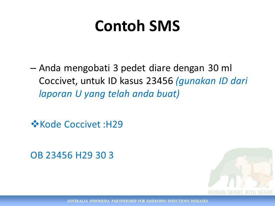 AUSTRALIA INDONESIA PARTNERSHIP FOR EMERGING INFECTIOUS DISEASES Contoh SMS – Anda mengobati 3 pedet diare dengan 30 ml Coccivet, untuk ID kasus 23456 (gunakan ID dari laporan U yang telah anda buat)  Kode Coccivet :H29 OB 23456 H29 30 3