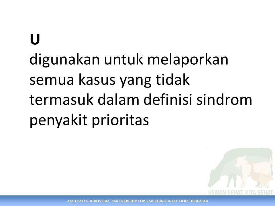 AUSTRALIA INDONESIA PARTNERSHIP FOR EMERGING INFECTIOUS DISEASES Contoh SMS Dinas Anda menerima laporan mengenai 1 sapi dengan radang mata, mencret, leleran hidung, dan demam di desa Sabdodadi, Bantul, Yogyakarta dimana anda terdaftar di iSIKHNAS.