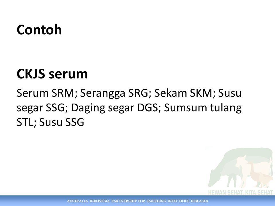 AUSTRALIA INDONESIA PARTNERSHIP FOR EMERGING INFECTIOUS DISEASES Contoh CKJS serum Serum SRM; Serangga SRG; Sekam SKM; Susu segar SSG; Daging segar DGS; Sumsum tulang STL; Susu SSG