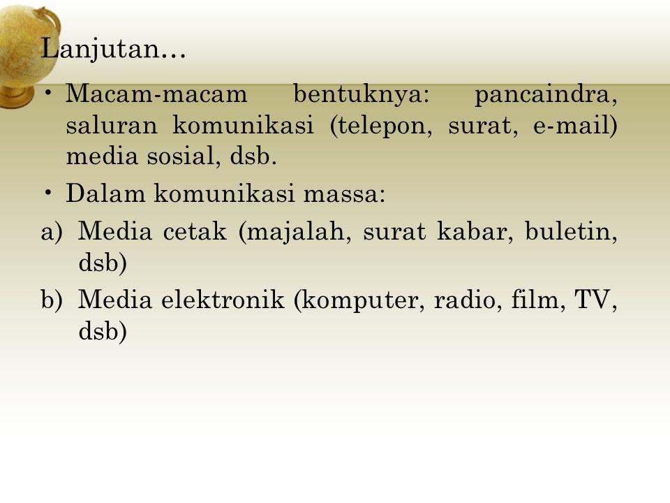 Lanjutan… Macam-macam bentuknya: pancaindra, saluran komunikasi (telepon, surat, e-mail) media sosial, dsb.