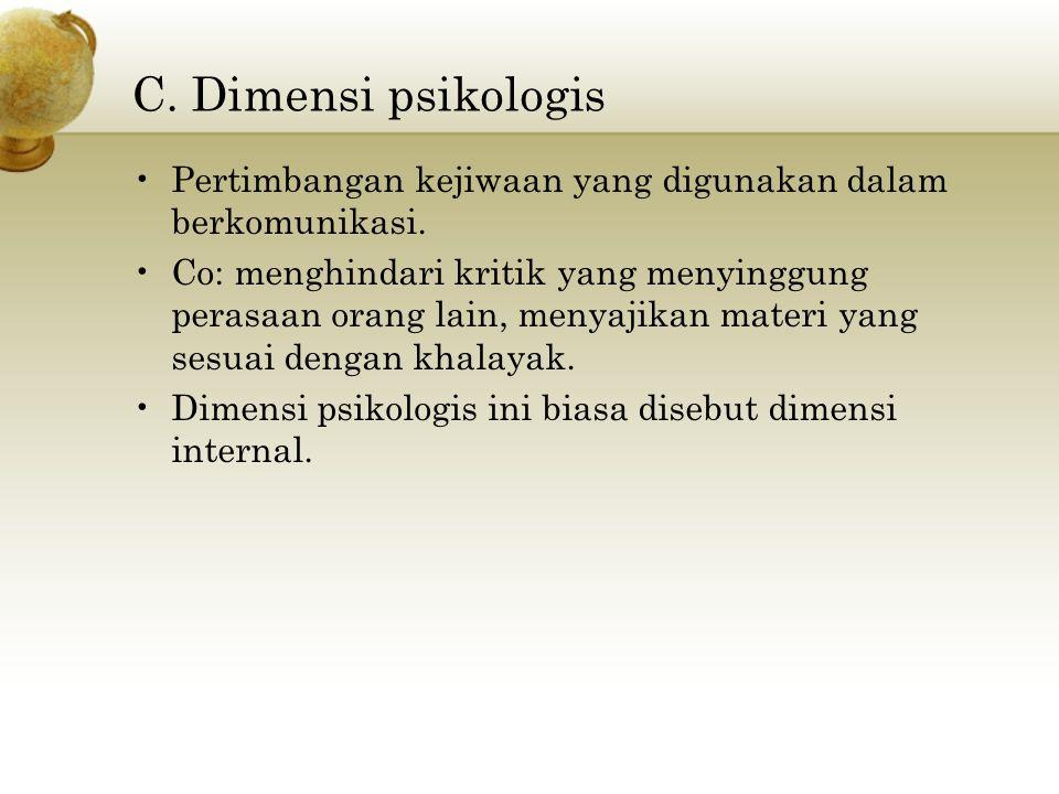 C.Dimensi psikologis Pertimbangan kejiwaan yang digunakan dalam berkomunikasi.
