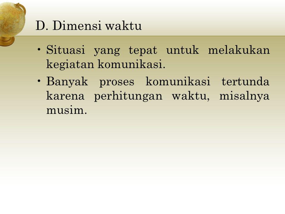 D.Dimensi waktu Situasi yang tepat untuk melakukan kegiatan komunikasi.