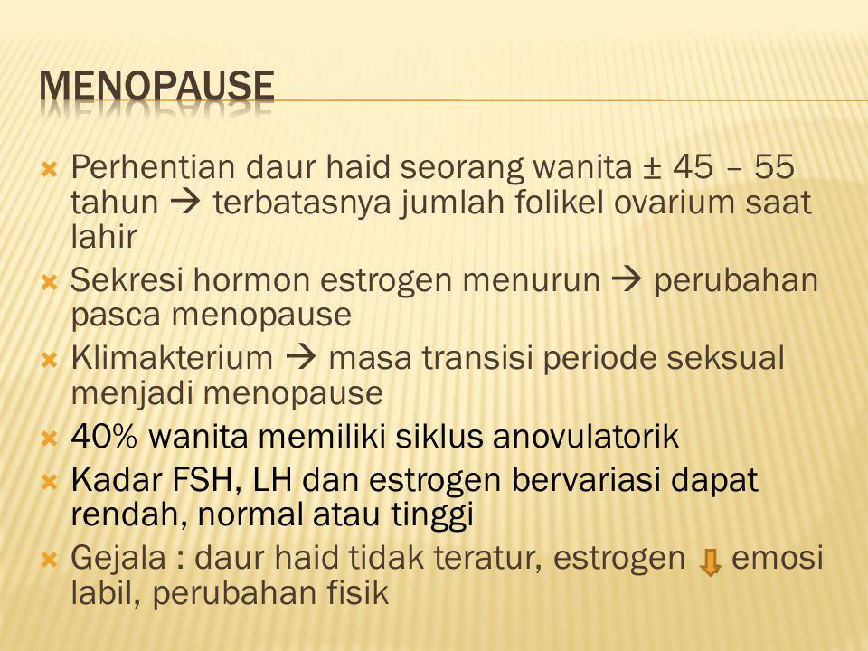  Perhentian daur haid seorang wanita ± 45 – 55 tahun  terbatasnya jumlah folikel ovarium saat lahir  Sekresi hormon estrogen menurun  perubahan pa