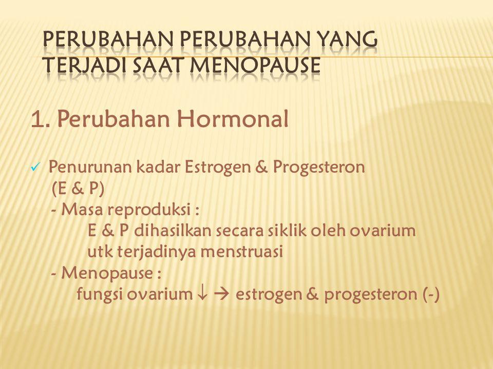 1. Perubahan Hormonal Penurunan kadar Estrogen & Progesteron (E & P) - Masa reproduksi : E & P dihasilkan secara siklik oleh ovarium utk terjadinya me