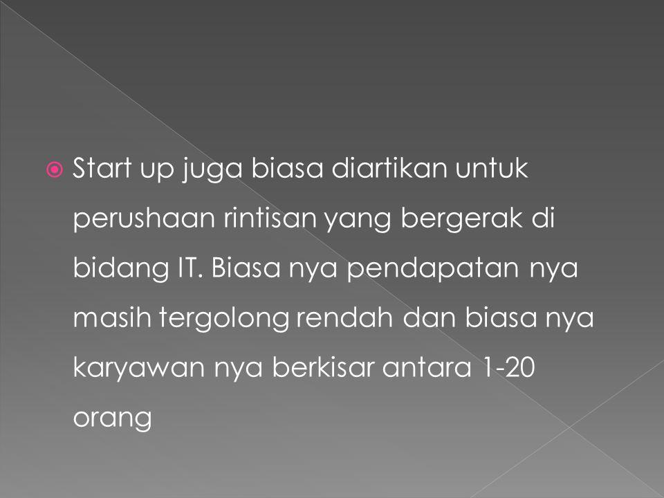 Berikut ini adalah contoh siklus dari business start up yang biasa terjadi di dunia.