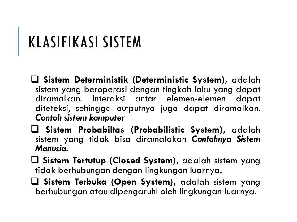 KLASIFIKASI SISTEM  Sistem Deterministik (Deterministic System), adalah sistem yang beroperasi dengan tingkah laku yang dapat diramalkan. Interaksi a