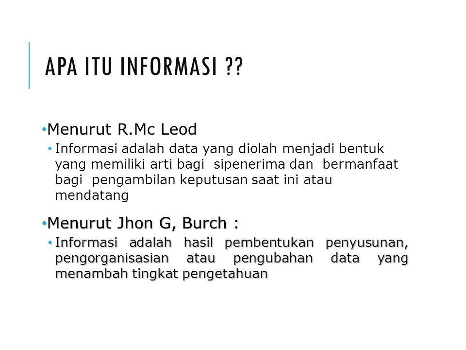 APA ITU INFORMASI ?? Menurut R.Mc Leod Informasi adalah data yang diolah menjadi bentuk yang memiliki arti bagi sipenerima dan bermanfaat bagi pengamb