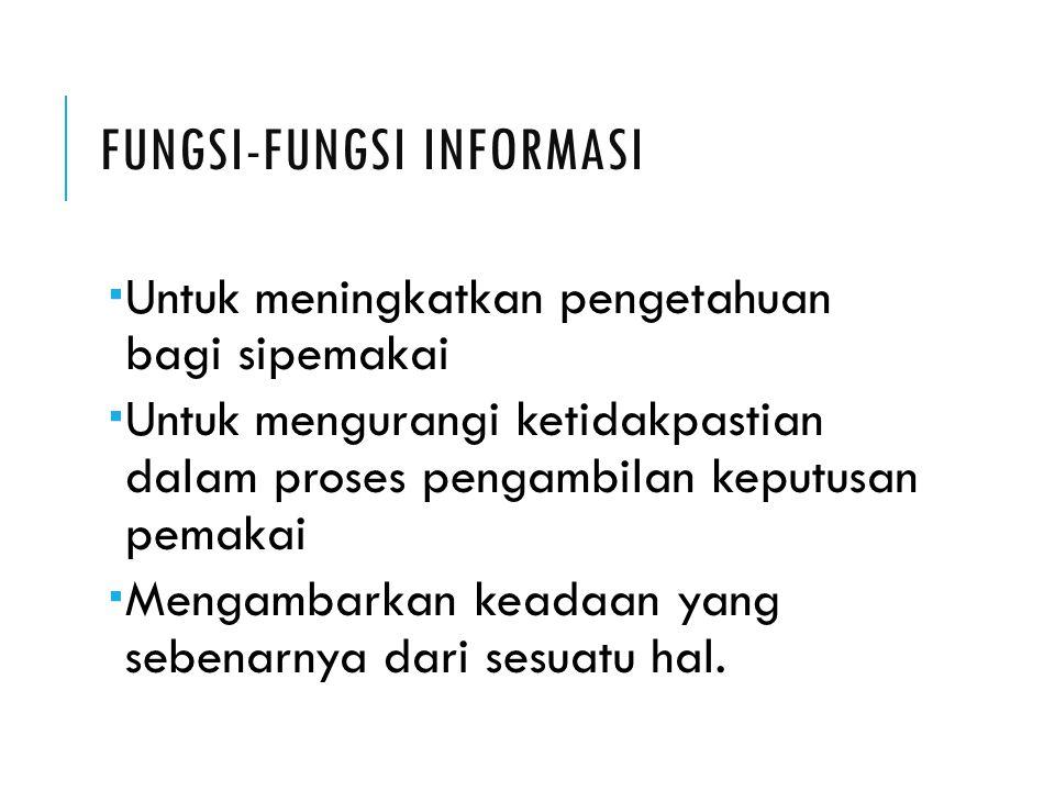 FUNGSI-FUNGSI INFORMASI  Untuk meningkatkan pengetahuan bagi sipemakai  Untuk mengurangi ketidakpastian dalam proses pengambilan keputusan pemakai 