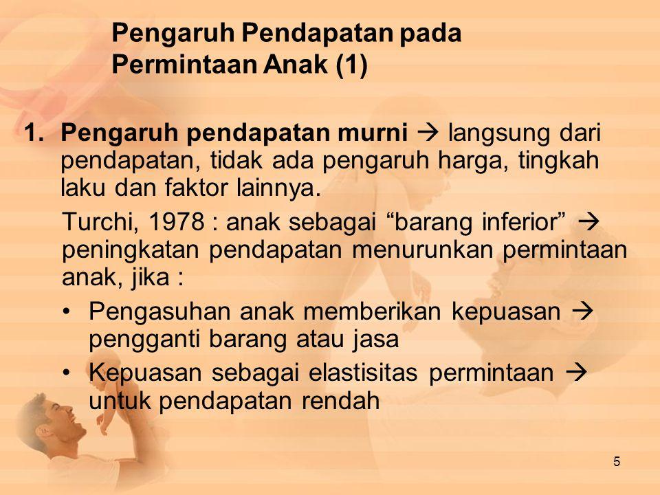 Pengaruh Pendapatan pada Permintaan Anak (1) 1.Pengaruh pendapatan murni  langsung dari pendapatan, tidak ada pengaruh harga, tingkah laku dan faktor