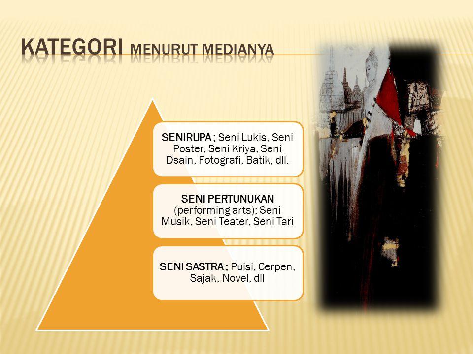 SENIRUPA ; Seni Lukis, Seni Poster, Seni Kriya, Seni Dsain, Fotografi, Batik, dll.
