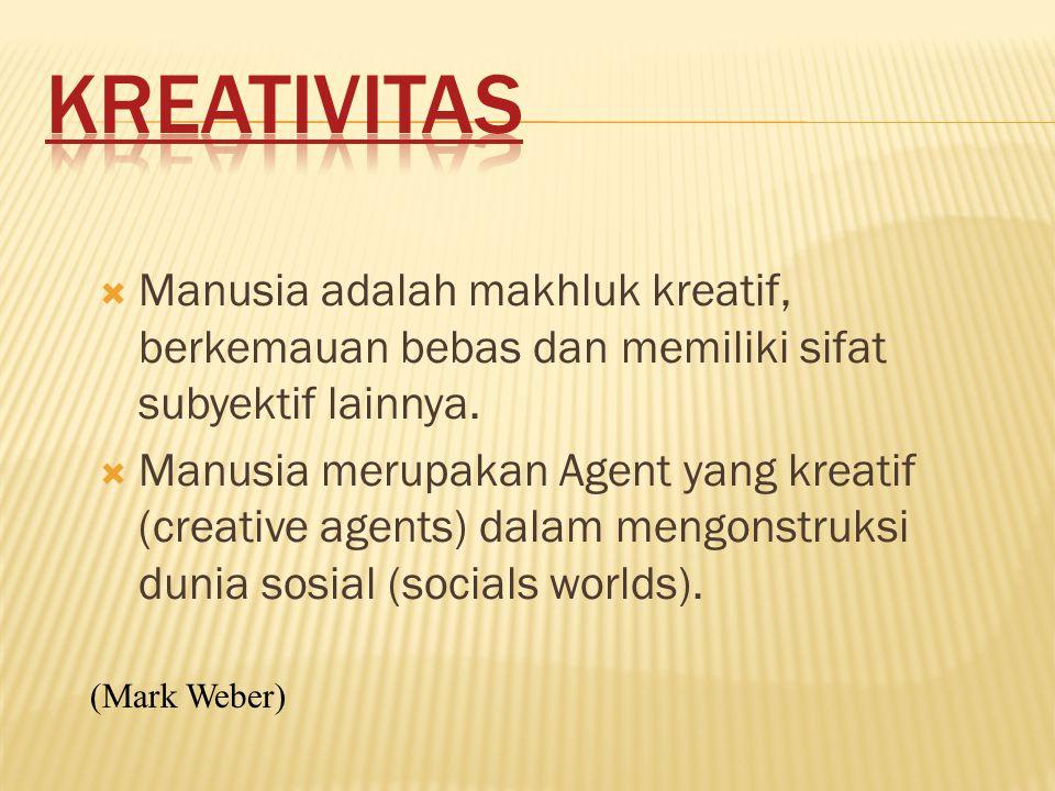  Manusia adalah makhluk kreatif, berkemauan bebas dan memiliki sifat subyektif lainnya.
