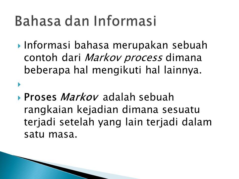  Informasi bahasa merupakan sebuah contoh dari Markov process dimana beberapa hal mengikuti hal lainnya.