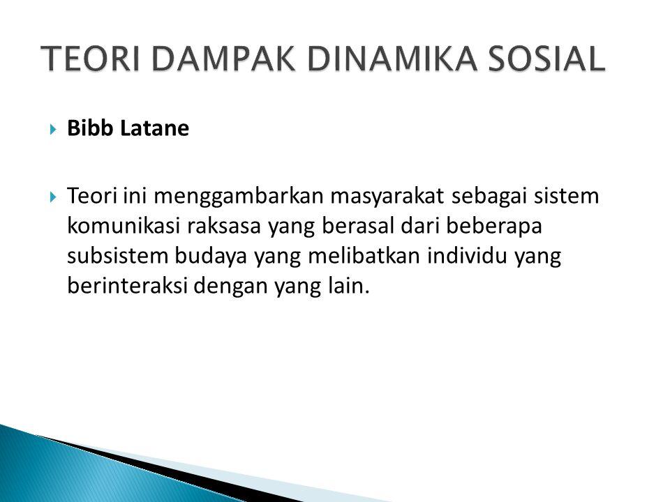  Bibb Latane  Teori ini menggambarkan masyarakat sebagai sistem komunikasi raksasa yang berasal dari beberapa subsistem budaya yang melibatkan individu yang berinteraksi dengan yang lain.