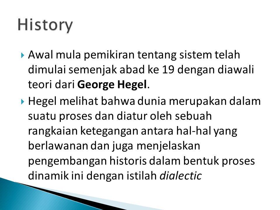  Awal mula pemikiran tentang sistem telah dimulai semenjak abad ke 19 dengan diawali teori dari George Hegel.