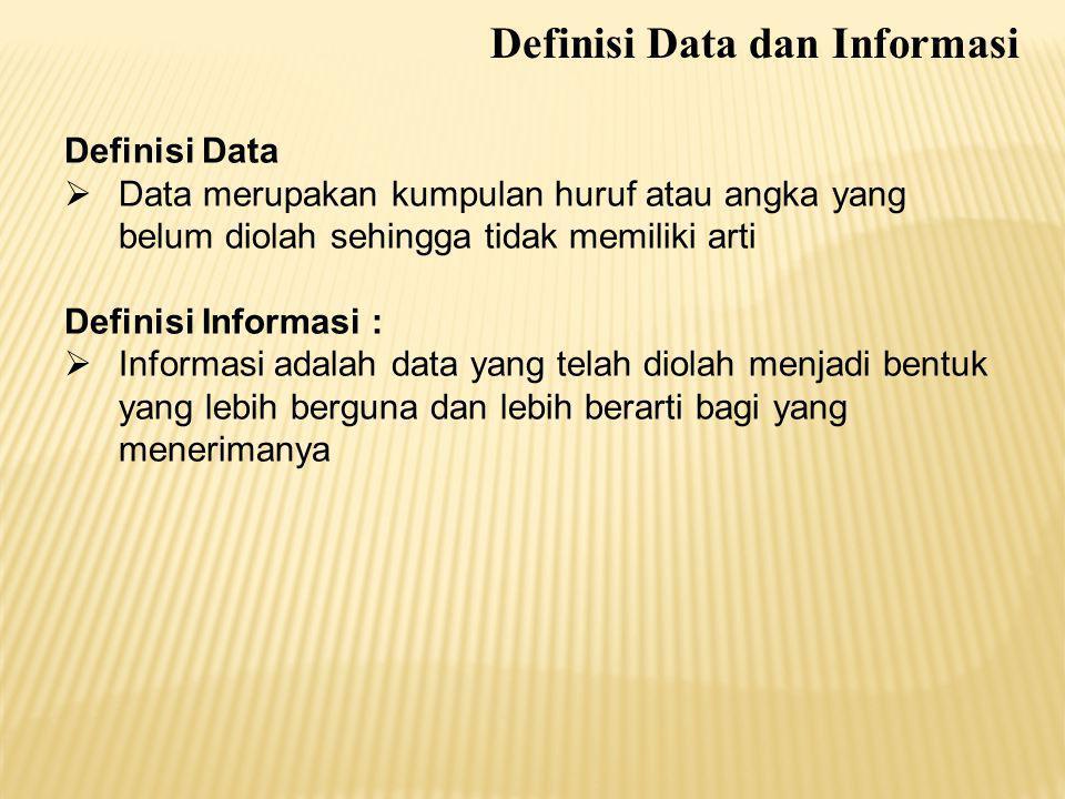 Definisi Data  Data merupakan kumpulan huruf atau angka yang belum diolah sehingga tidak memiliki arti Definisi Informasi :  Informasi adalah data y