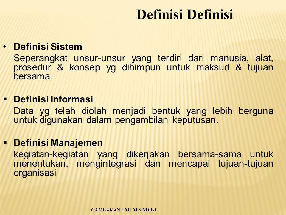 Definisi Sistem Seperangkat unsur-unsur yang terdiri dari manusia, alat, prosedur & konsep yg dihimpun untuk maksud & tujuan bersama.  Definisi Infor