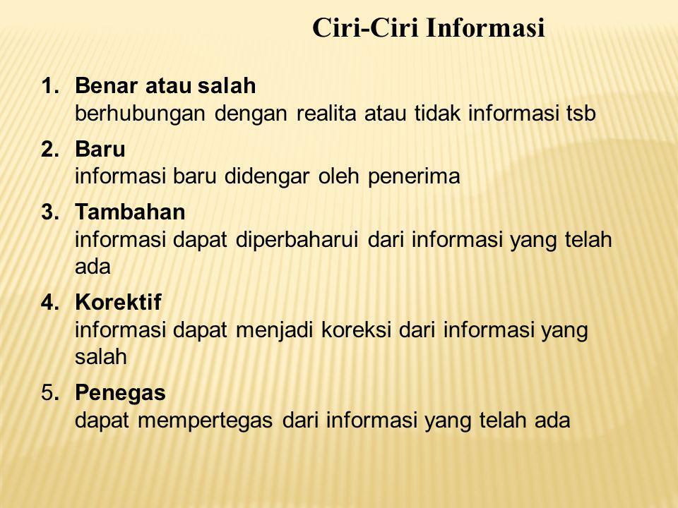 1.Benar atau salah berhubungan dengan realita atau tidak informasi tsb 2.Baru informasi baru didengar oleh penerima 3.Tambahan informasi dapat diperba