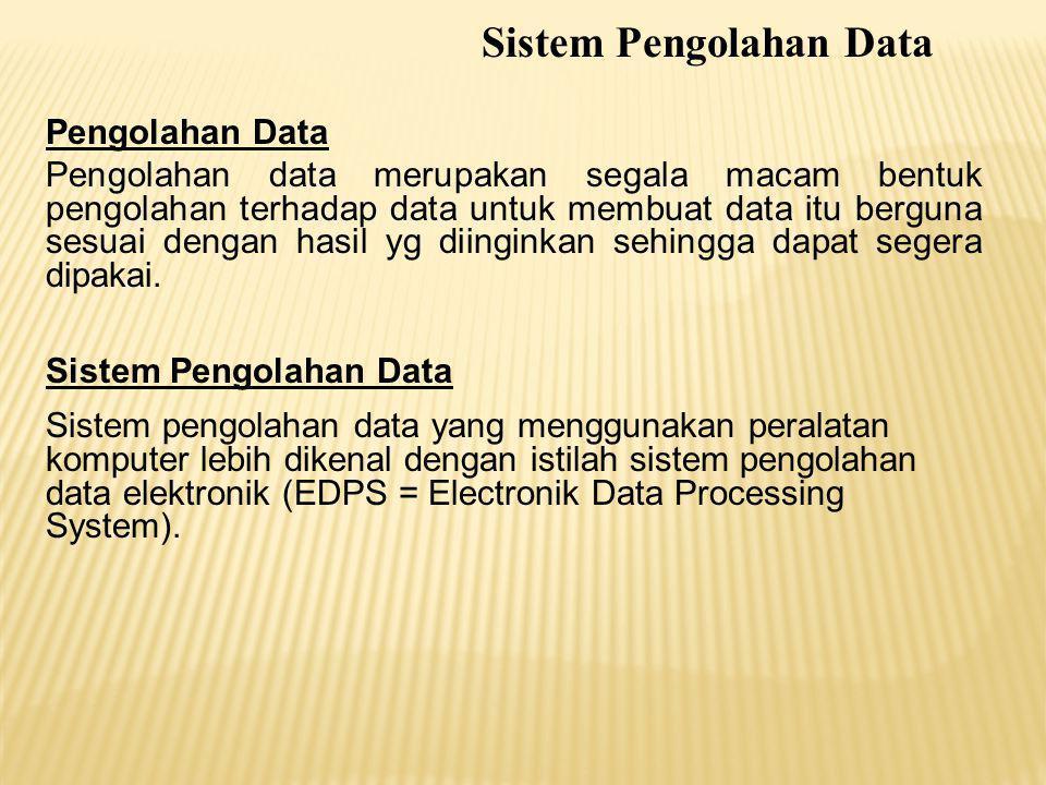 Pengolahan Data Pengolahan data merupakan segala macam bentuk pengolahan terhadap data untuk membuat data itu berguna sesuai dengan hasil yg diinginka