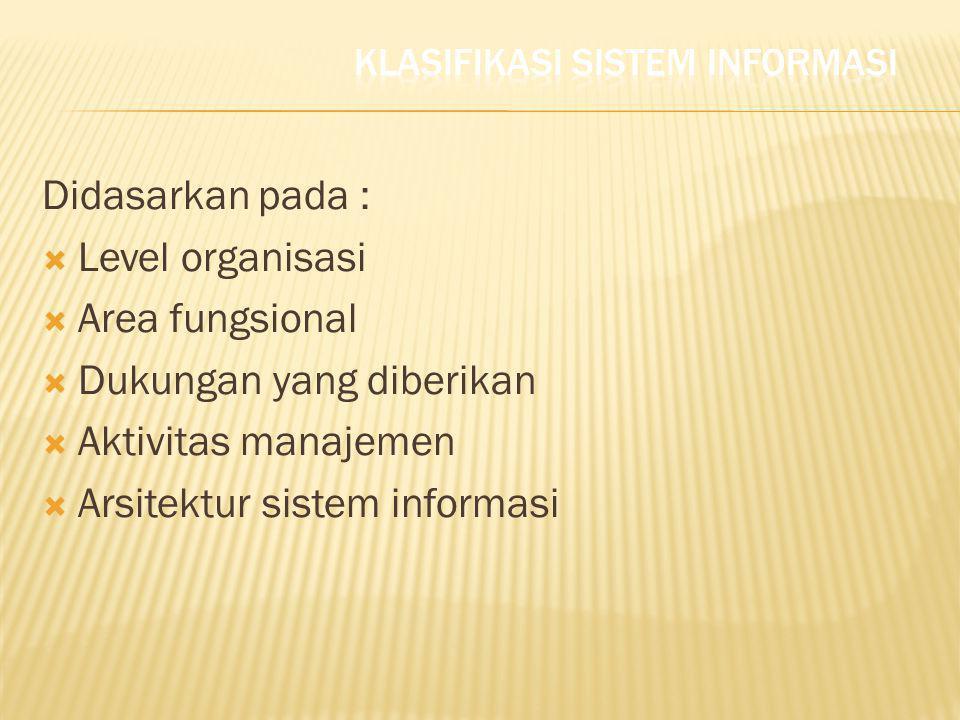 Didasarkan pada :  Level organisasi  Area fungsional  Dukungan yang diberikan  Aktivitas manajemen  Arsitektur sistem informasi