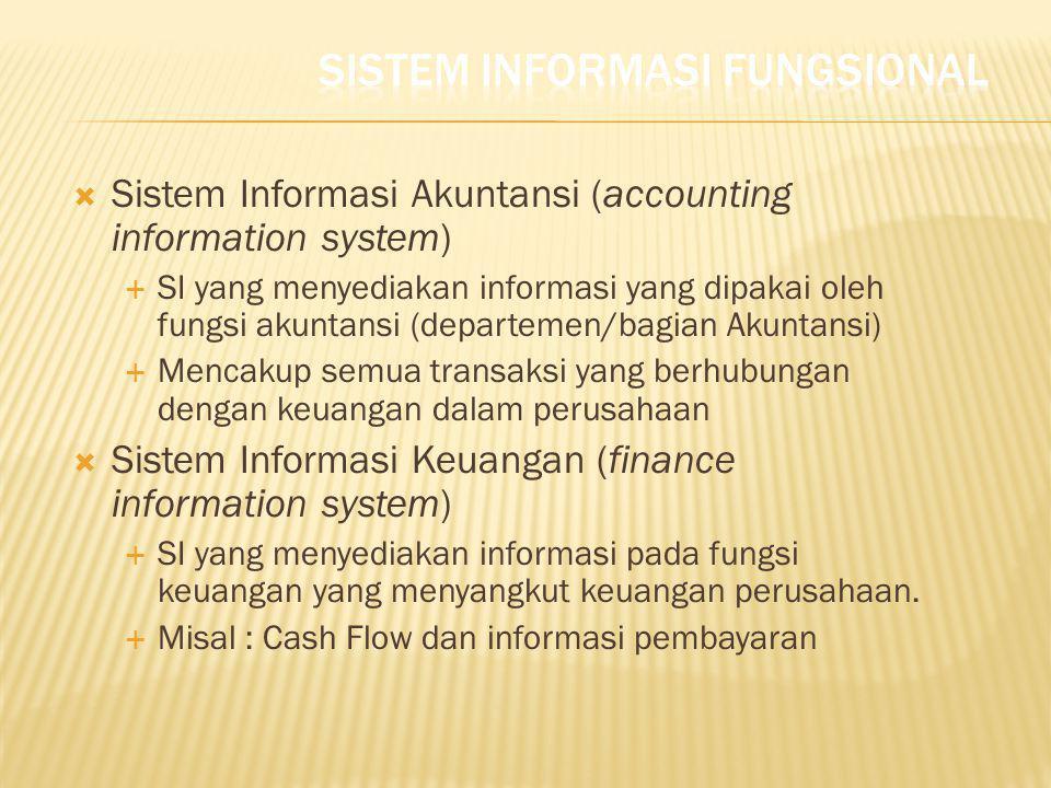  Sistem Informasi Akuntansi (accounting information system)  SI yang menyediakan informasi yang dipakai oleh fungsi akuntansi (departemen/bagian Aku