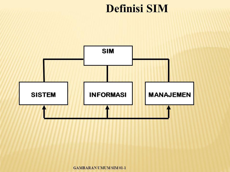 SIM SISTEMINFORMASIMANAJEMEN GAMBARAN UMUM SIM 01-1 Definisi SIM