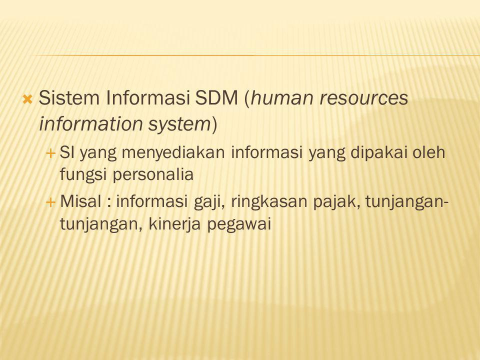  Sistem Informasi SDM (human resources information system)  SI yang menyediakan informasi yang dipakai oleh fungsi personalia  Misal : informasi ga