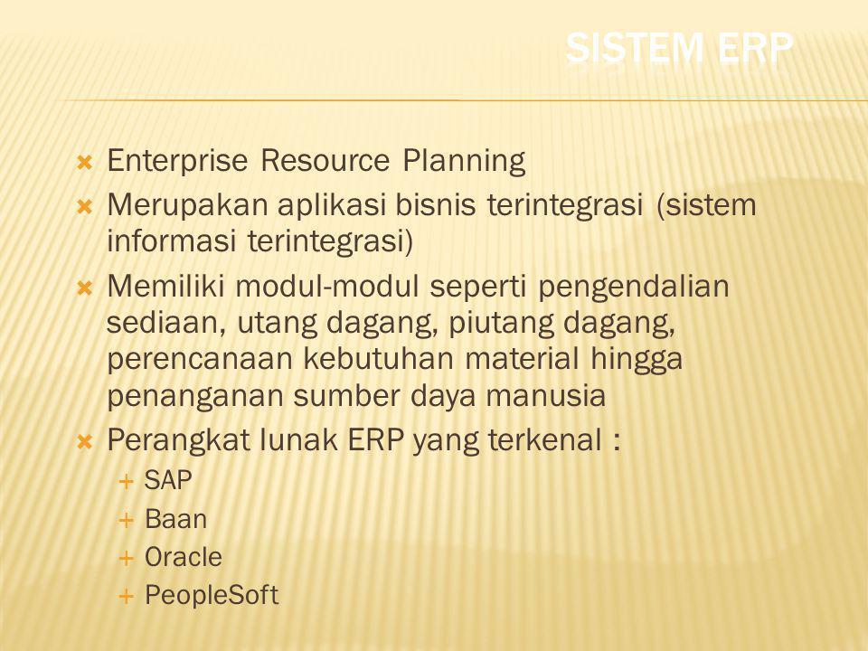  Enterprise Resource Planning  Merupakan aplikasi bisnis terintegrasi (sistem informasi terintegrasi)  Memiliki modul-modul seperti pengendalian se