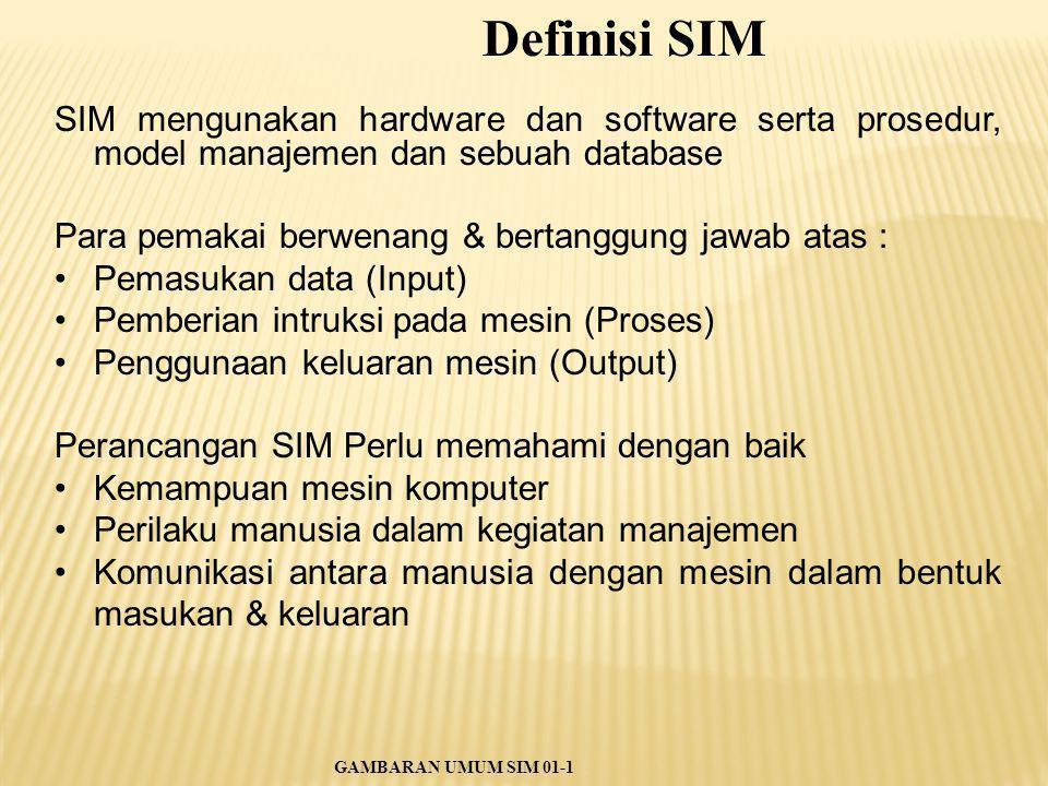 SIM mengunakan hardware dan software serta prosedur, model manajemen dan sebuah database Para pemakai berwenang & bertanggung jawab atas : Pemasukan d