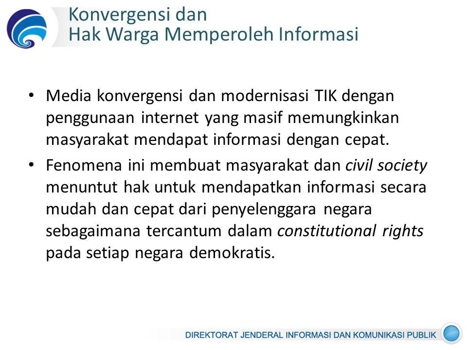 Konvergensi dan Hak Warga Memperoleh Informasi Media konvergensi dan modernisasi TIK dengan penggunaan internet yang masif memungkinkan masyarakat mendapat informasi dengan cepat.