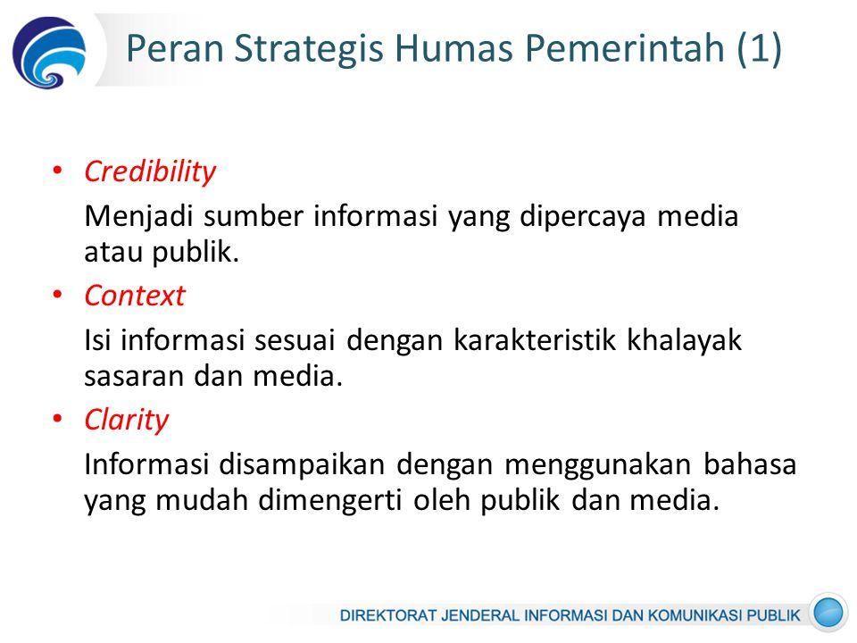 Peran Strategis Humas Pemerintah (1) Credibility Menjadi sumber informasi yang dipercaya media atau publik.