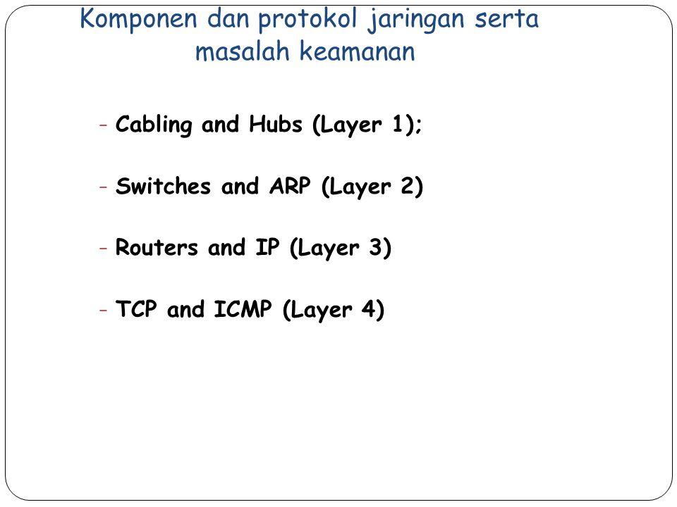 Komponen dan protokol jaringan serta masalah keamanan − Cabling and Hubs (Layer 1); − Switches and ARP (Layer 2) − Routers and IP (Layer 3) − TCP and