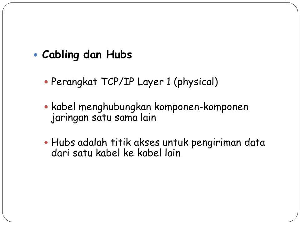 Cabling dan Hubs Perangkat TCP/IP Layer 1 (physical) kabel menghubungkan komponen-komponen jaringan satu sama lain Hubs adalah titik akses untuk pengi