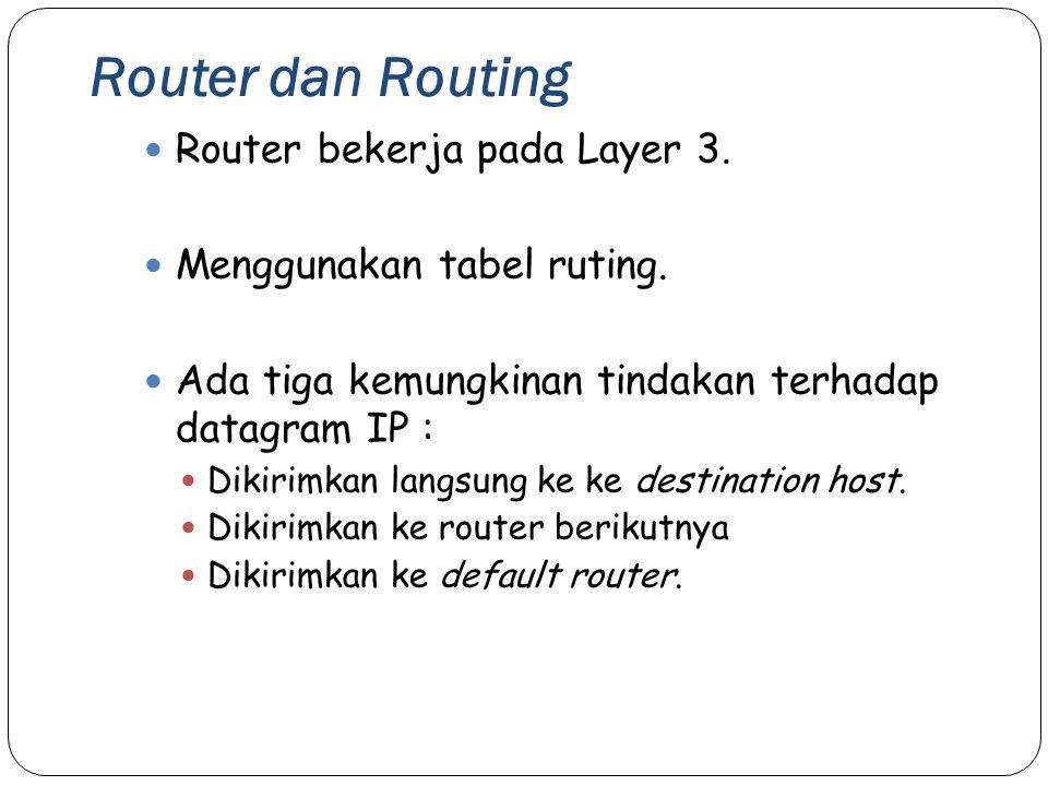 Router dan Routing 34 Router bekerja pada Layer 3. Menggunakan tabel ruting. Ada tiga kemungkinan tindakan terhadap datagram IP : Dikirimkan langsung