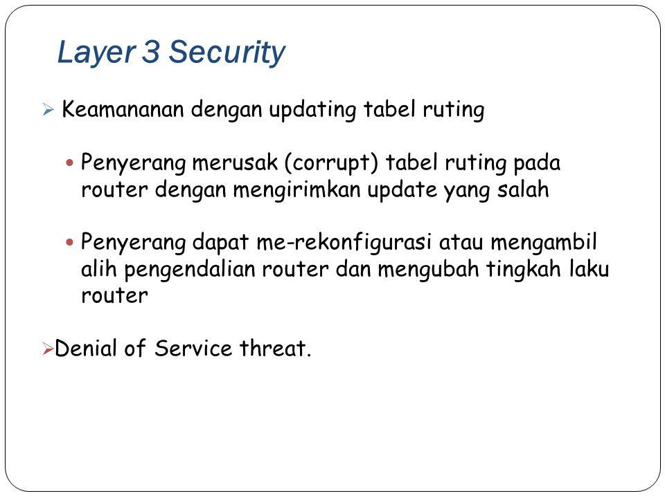 Layer 3 Security 35  Keamananan dengan updating tabel ruting Penyerang merusak (corrupt) tabel ruting pada router dengan mengirimkan update yang sala