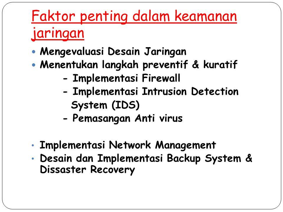 Faktor penting dalam keamanan jaringan Mengevaluasi Desain Jaringan Menentukan langkah preventif & kuratif - Implementasi Firewall - Implementasi Intr